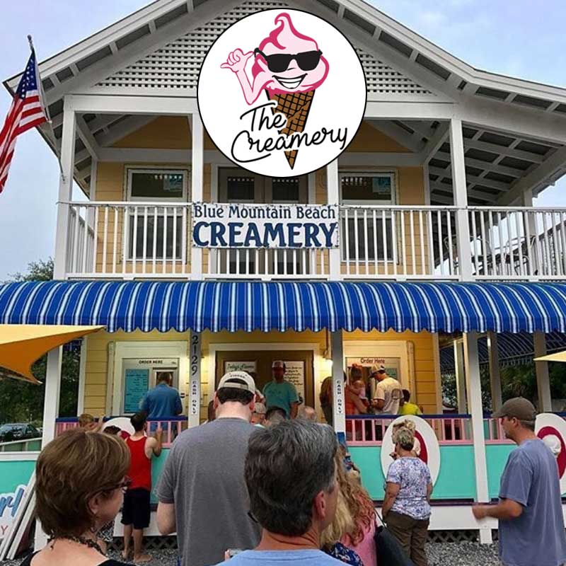 A photo of people walking up to Blue Mountain Beach Creamery in Santa Rosa Beach, FL